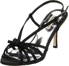 Badgley Mischka Wright BLACK Heels Satin Strappy Sandals NEW Sparkle Designer