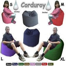 Corduroy Beanbags Giant Bean Bags Adults Kids 4 Sizes 12 + Colours Comes Filled