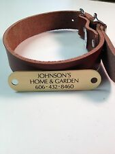 "1"" Leather Dog Collar With Laser Engraved Brass Nameplate"