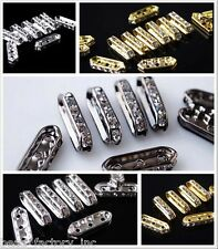 Multicolor 50 100pc 16x5mm Fusiform 3 Holes Rhinestone Charm Finding Spacer Bead