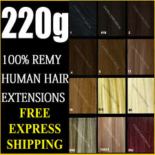 DELUXE SET CLIP IN REMY HUMAN HAIR EXTENSIONS ★BLONDE★BROWN★BLACK
