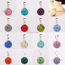10mm CZ Crystal Clay Disco Ball Shamballa Bead Pendant Silver Chain Necklace