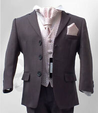 UK BOYS FORMAL 4 PC GREY & PINK PAGEBOY COMMUNION SUIT WEDDING PROM 6M to 16Y