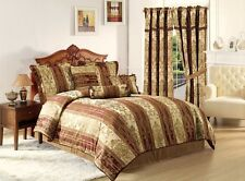Vintage Stripe 7pc Jacquard Comforter Set Gold, Burgundy Stripes FULL Size Bed