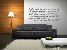 Take That Rule The World Lyrics Wall Sticker / Wall Art Home Decor