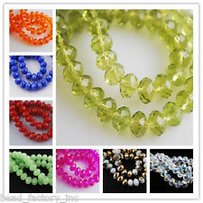100Pcs 8mm Faceted DIY Jewelry Necklace Rondelle Crystal Glass Spacer Beads