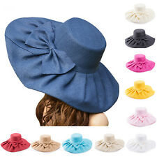 Womens Kentucky Derby Wide Brim Wedding Church Sea Beach Sun Hat Bow Linen