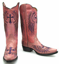 Women's leather handcrafted cowboy western boots cowgirl biker wings & cross