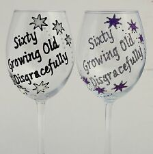 Personalised 60th Birthday Gifts Stars Champagne Wine Glass Sixty Growing Old..
