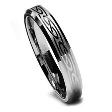 5MM Womens Tungsten Ring, Wedding Band laser Etched Celtic Ring, Bevel Edge -NEW