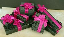 Jewellery Display Gift Party Box BLACK HEARTS PINK Square Pendant Ring Necklace