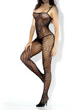 DESIRE HOSIERY SHEER SPIDERWEB CROTCHLESS BODYSTOCKING Size OS & QN