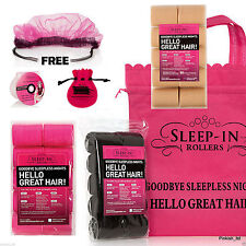 20 PINK BLONDE BLACK VELCRO SNOOZE SLEEP IN ROLLERS - FREE HAIR NET DVD & CLIPS