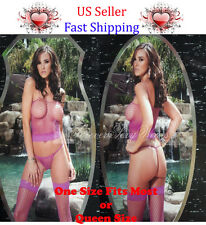 3PC SET WOMEN FISHNET CAMI TOP LACE G-STRING + STOCKING LINGERIE ONE/QUEEN SIZE