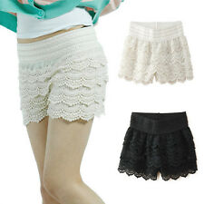 Sexy Fashion Girls Slim Crochet Tiered Lace A-Line High Rise Dress Pant Shorts