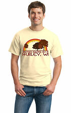 ANOTHER BEAUTIFUL DAY IN HURLEY, WI Retro Adult Unisex T-shirt. Wisconsin City