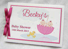 PERSONALISED BABY SHOWER - GIRL BOY TWINS  PHOTO SCRAPBOOK ALBUM *GUEST BOOK*