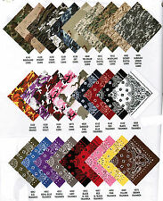 "Lot 60 22"" Bandanas Bandana Scarf Doo Rag Forest Red Biker Costume Blue Camo"