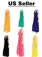 Women's Long Maxi Sleeveless Solid Color Dress for Casual Beach Party