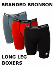 Mens Long Leg Boxer Shorts Branded Bronson Cotton Underwear Boxers Brief Trunks
