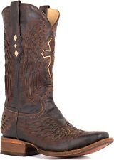 Mens Corral Distressed Chocolate Cognac Inlay Winged Cross Leather Cowboy Boots