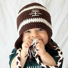 MADE IN USA Football crochet baby hat made with 30% milk protein