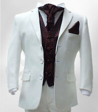 BOYS IVORY & WINE BURGUNDY WEDDING SUIT 5 PIECES PAGEBOY CRAVAT SUITS UP TO 15 Y