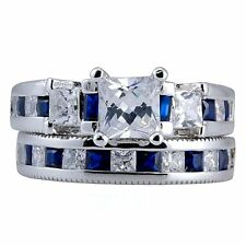 Stunning 4.35ct Created Sapphire & Russian Ice CZ 2 pc Bridal Wedding Ring Set