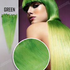 "18"" Clip In 100% Remy Human Hair Extension Half Head Green color from AU"