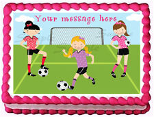 GIRLS SOCCER PLAYERS Party Edible image cake topper decoration