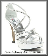 WOMENS NEW SILVER PLATFORM HEELS SANDALS BRIDAL LADIES PARTY GIRLS WEDDING SHOES