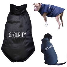 Large Dog Breed SECURITY Black Bomber Jacket Water Resistant - Coat Pet Clothes