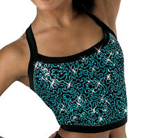 NEW Sequined Plush Camisole Half Top- Silver or Peacock - Adult Large retail $27