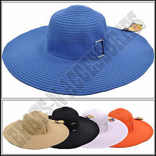 Grosgrain Band with Buckle Packable Wide Brim Floppy Outdoor Sun Hat Visor UPF50