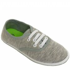 Kids Boys Girls Lace-Up Elasticated Grey Canvas Pumps Sizes 11, 12, 13, 1 & 2