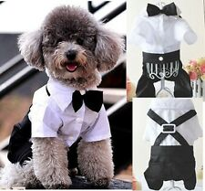 New Boy Prince Tuxedo T-shirt Dogs Cats Pet Clothes Jumpsuit Outfit With Bow Tie