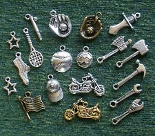Over 22 Silver Charm Sets - Baseball Soccer Tennis Tools Sports Medieval!!