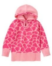 GYMBOREE LOVEABLE GIRAFFE PINK GIRAFFE SKIN HOODED JACQUARD SWEATER 3 4 5 6 7 8