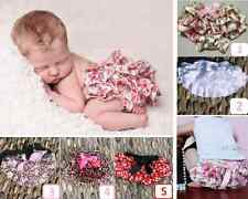 Baby Girls BLOOMERS RUFFLE FRILLY PANT NAPPY COVER Satin Floral White Sz 0 1 2