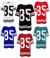 NEW WOMENS GLITTER TOP LADIES T-SHIRT 85 CROP TOP VARSITY JERSEY SWEAT SIZE 8-12