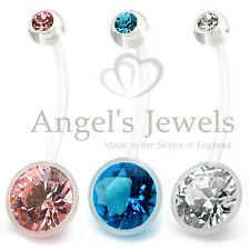 PTFE Pregnancy Belly Navel Bar Maternity Piercing/Round/Pink/Blue/Clear/Gem/New