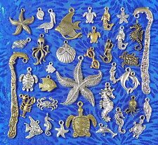 Tibet Silver Bronze Gold Sea Charms- Starfish Seahorse Shell Mermaid -USA Seller