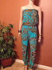 LADIES Women STRAPLESS HI Waist ANIMAL PRINT SKINNY LEG JUMPSUIT A-291