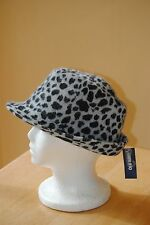 Women's Old Navy Rabbit Hair & Wool Blend, Gray, Black Animal Print Fedora Hat