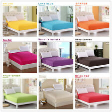 Cotton Fitted Sheets Pillowcase King/Queen/Double/Single Size Solid 17Colors New