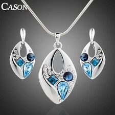 18K White Gold Plated Austrian Crystal BLUELOVER Earrings Necklace Jewelry Set
