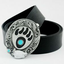 Celtic Gothic Vintage Blue Dot Pattern Feathers Eye Mens Buckle Leather Belt