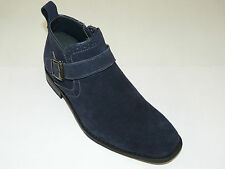 Mens Navy Blue High Top Boot Genuine Suede Leather LA MILANO Buckle Zipper B5530