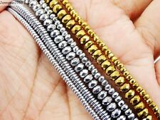 Hematite Gemstone 2mm 3mm 4mm Faceted Rondelle Beads 16'' Metallic Silver Gold