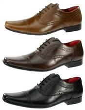 Red Tape Black Mens Leather Lace Part Brogue Pointy Toe Formal Shoes